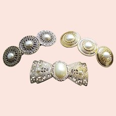 Three hair barrettes good quality 1980s metallic hair accessories (AAC)