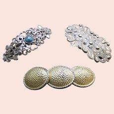 Three hair barrettes good quality 1980s metallic hair accessories (AAE)