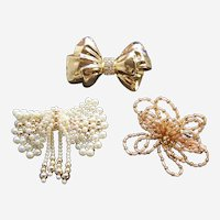 Three hair barrettes good quality 1980s bow themed hair accessories