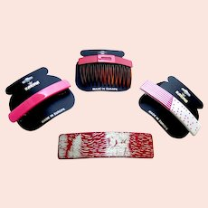 Four Karina hair accessories good quality 1980s pink theme hair ornaments