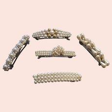 Five faux pearl hair accessories good quality 1980s hair ornaments