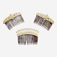 Three Hollywood Regency hair combs faux pearl hair accessories