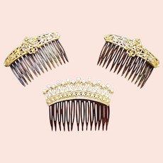 Three Hollywood Regency hair combs faux pearl hair accessories