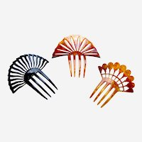 Three Art Deco hair combs classic sunray style hair ornaments