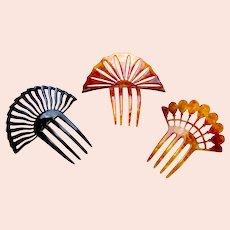 Three Art Deco hair combs classic sunray style hair ornaments