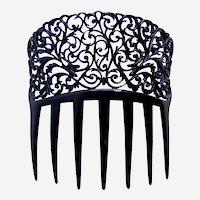 Auguste Bonaz signed hair comb black filigree design headpiece