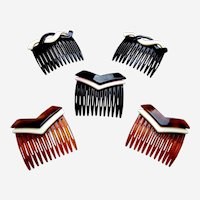 Five Carita hair combs signed mid century hair ornaments