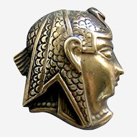 Egyptian Revival long hat pin figural head hat accessory