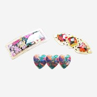 Three hair barrettes good quality 1980s enamel hair slide accessories