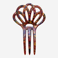 Multicolour Art Deco hair comb end of day hair accessory