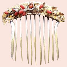 Early Victorian hair comb 9ct with coral beads hair ornament