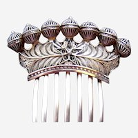 Victorian hair comb metal silver filigree hair ornament