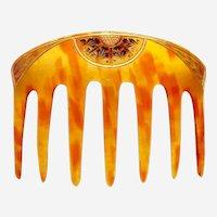 Art Nouveau hair comb gilded back comb hair accessory