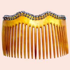 Late Victorian hair comb rhinestone horn hair ornament