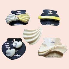 Five Karina hair accessories good quality 1980s cream theme hair ornaments