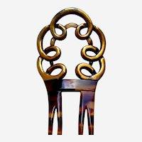 Auguste Bonaz hair comb gilded mid century hair ornament