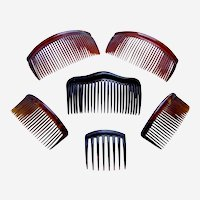 Six practical hair combs faux tortoiseshell hair accessories