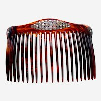 Late Victorian hair comb rhinestone back comb hair ornament