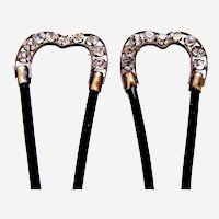 Matched pair Edwardian hair combs rhinestone hair pins accessories
