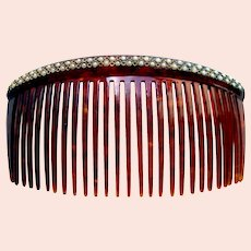 Late Victorian hair comb faux pearl back comb hair ornament
