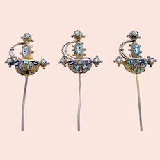 Three micro mosaic hair pins or hatpins in the archaeological revival style