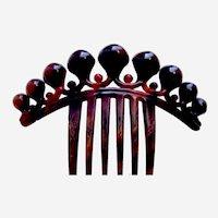 Victorian tortoiseshell hair comb with decorative balls hair ornament