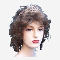 Vintage rhinestone tiara hair accessory mid century bridal wedding headdress (AAD)