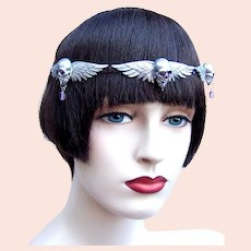 Vintage gothic tiara winged skulls 1980s hair accessory headdress (AAH)