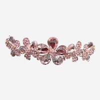 Vintage rhinestone tiara hair accessory 1980s bridal wedding headdress (AAI)