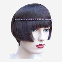 Vintage rhinestone headband tiara hair accessory mid century headdress (AAM)