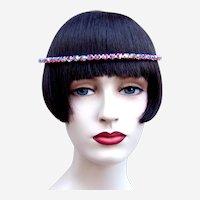 Vintage rhinestone headband tiara hair accessory mid century headdress (AAN)