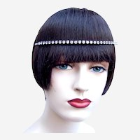 Vintage rhinestone headband tiara hair accessory mid century headdress (AAO)
