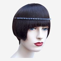 Vintage rhinestone headband tiara hair accessory mid century headdress (AAP)