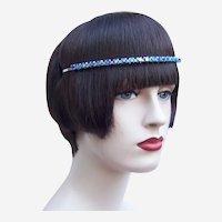 Vintage rhinestone headband tiara hair accessory mid century headdress (AAQ)