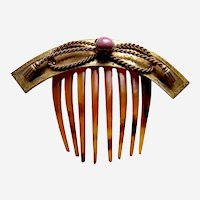 Classic hinged Victorian hair comb with coral cabochon