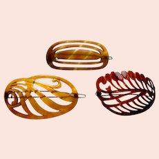 Three hair barrettes celluloid faux tortoiseshell hair accessories