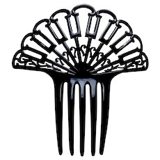 Art Deco hair comb black celluloid fan shape hair ornament
