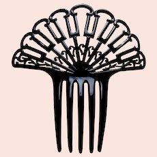 Art Deco hair comb black celluloid fan shape hair ornament