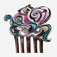 Silver tone enamel hair comb in Art Nouveau style
