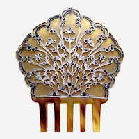 Unusual hair comb with aluminium rhinestone overlay decoration