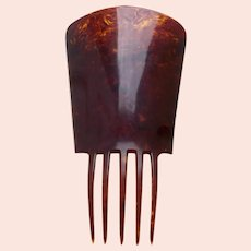 Over sized Spanish style hair comb in celluloid faux tortoiseshell