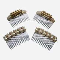 Two matched pair faux pearl side hair combs from the 1980s