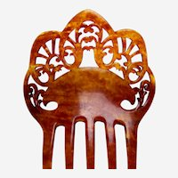 Victorian hair comb faux tortoiseshell with scalloped profile