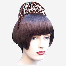 Art Deco tiara hair comb faux tortoiseshell headpiece