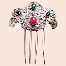 Unusual ethnic Turkoman hair comb with glass stones