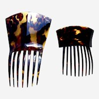 Two late Victorian hair combs in celluloid faux tortoiseshell