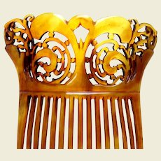 Large Victorian hair comb steer horn Spanish style hair accessory