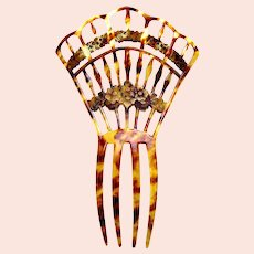 Late Victorian Spanish hair comb gilded faux tortoiseshell hair ornament