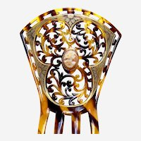 Faux tortoiseshell Art Deco hair comb with cameo ornament hair accessory