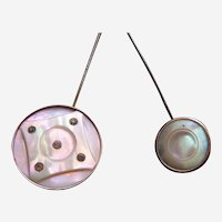 Edwardian hatpins mother of pearl and fancy metal hat ornament